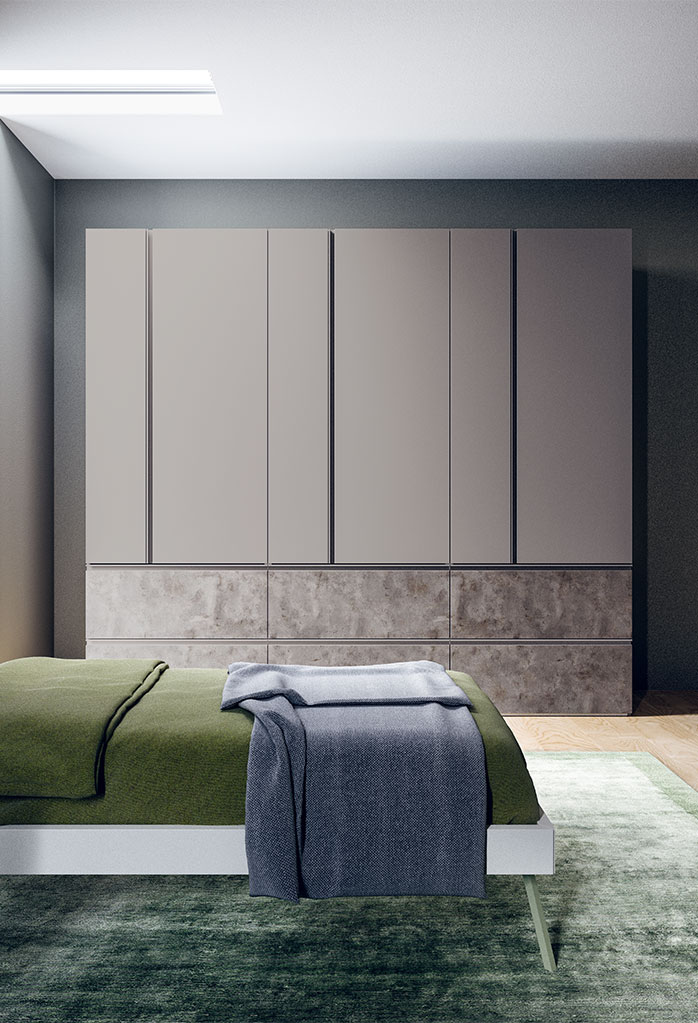6 door wardrobe Ghost in a grey lacquer and concrete effect finish