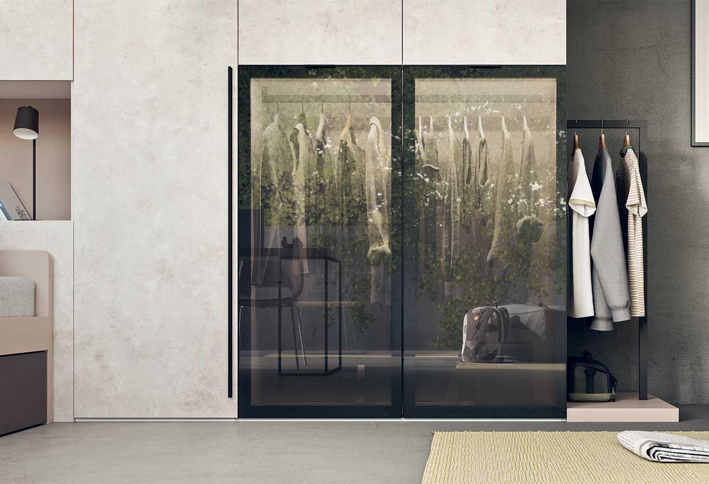 A stylish smoky glass cupboard