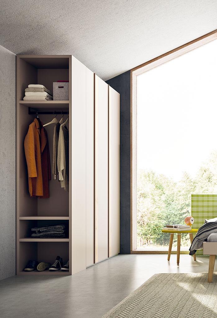 L'armadio Slim può essere dotato di terminale libreria e guardaroba