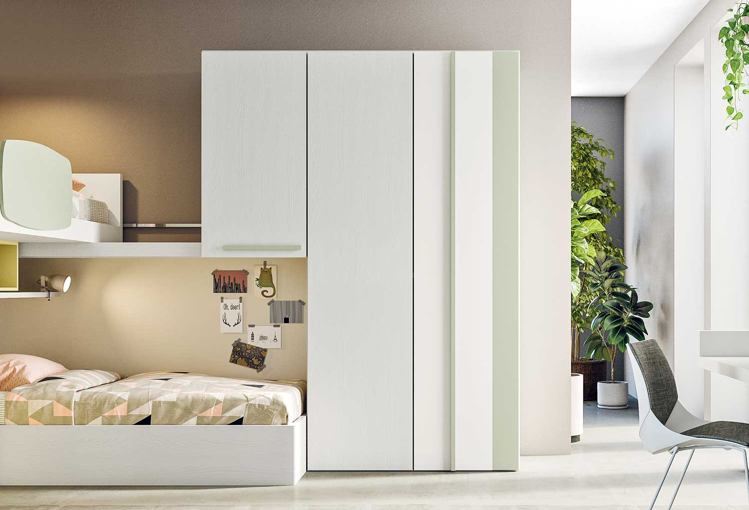Modular kids' bedroom wardrobe Stripe, 2 door model with one overbed cabinet