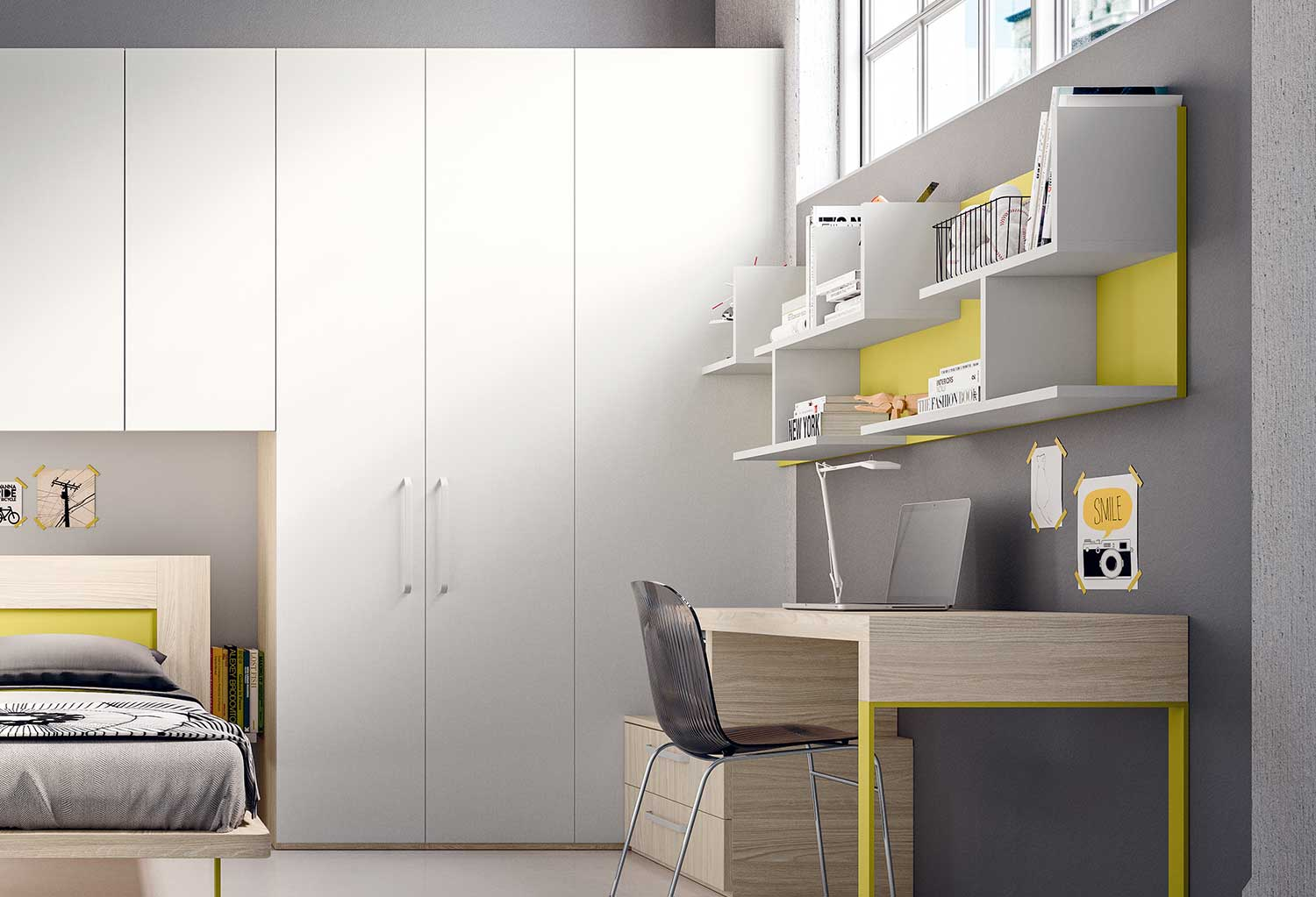 Corner is a modular corner wardrobe with a large one door unit you can freely combine with other elements