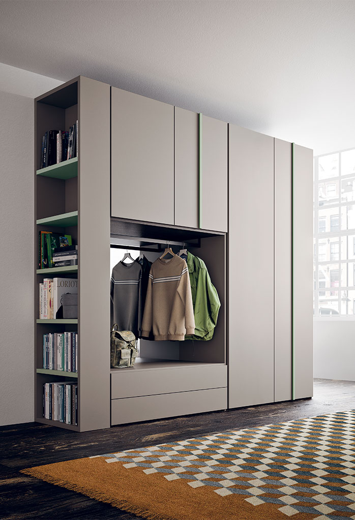 Wardrobe with open compartment and built in bookcase