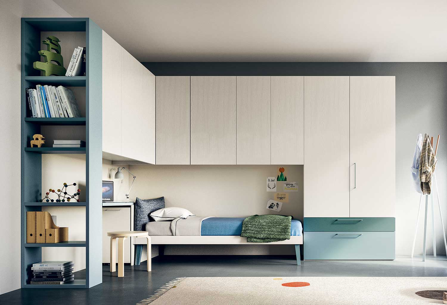 Corner overbed wardrobe Start allows for endless compositions for kids' or adults' bedrooms, guest or laundry rooms