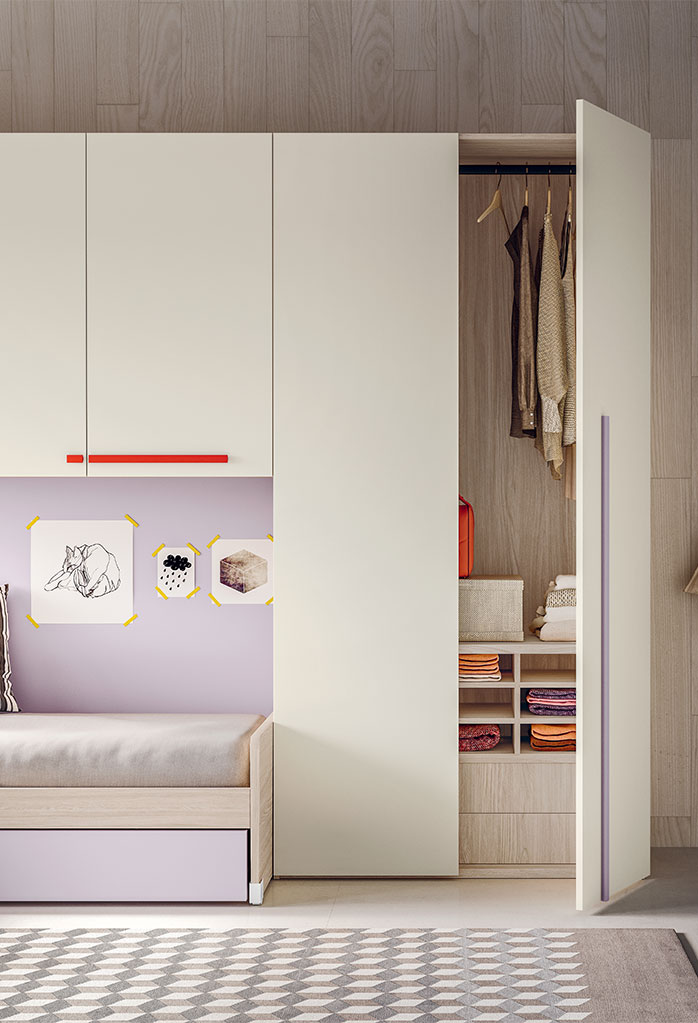 Wardrobe interiors with clothes rail, drawers and shirts storage unit with compartments