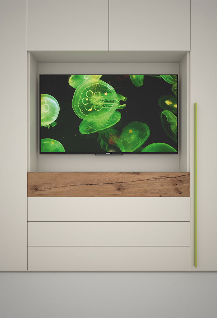 Dettaglio del vano porta tv con cassetti sottostanti