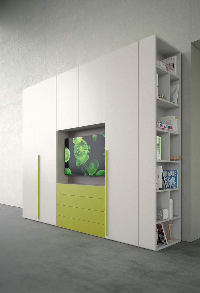 Armadio Start TV con vano porta tv e libreria laterale