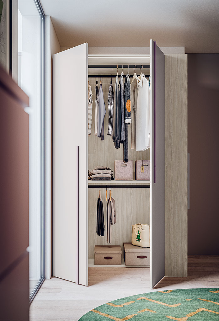 Maxy extra deep wardrobe with shelving and double hanging rails