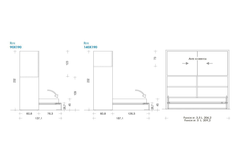Schema dimensioni armadio con letto a scomparsa