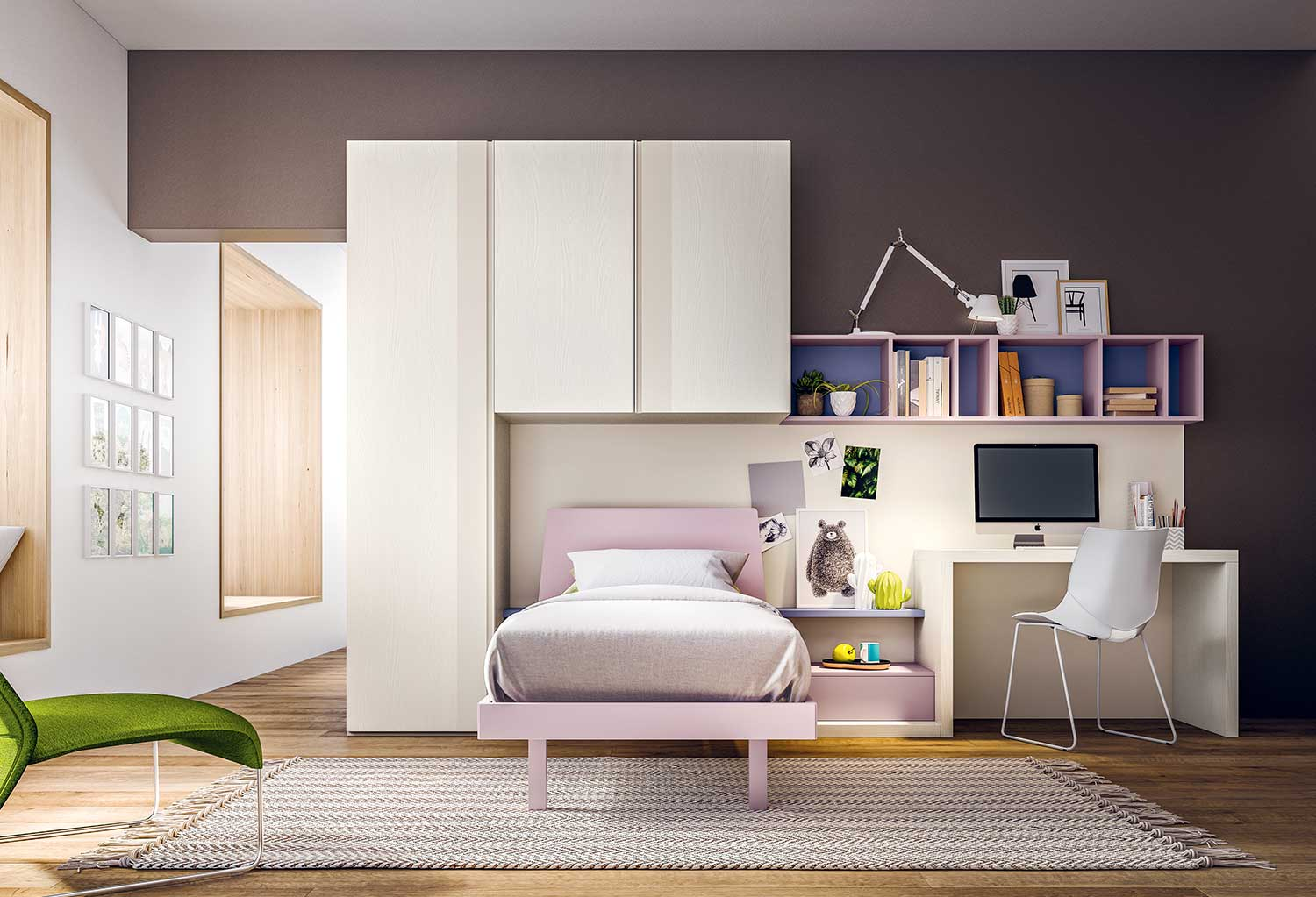 The Start T09 compact space saving girls bedroom furniture maximizes your kids bedroom by making full use of a single wall