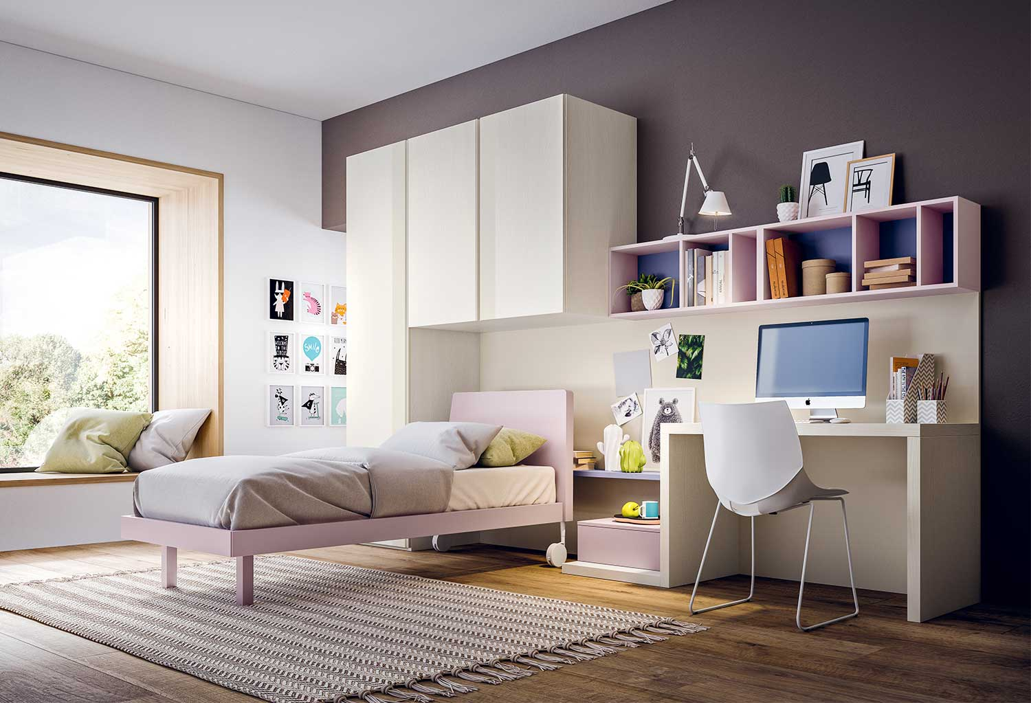 The girls bedroom set includes wardrobe, bed, desk and shelving