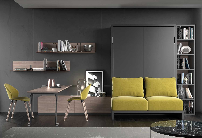 Arredamento completo per monolocale con letto a scomparsa, divano, contenitore, mensole, libreria, tavolo, sedie