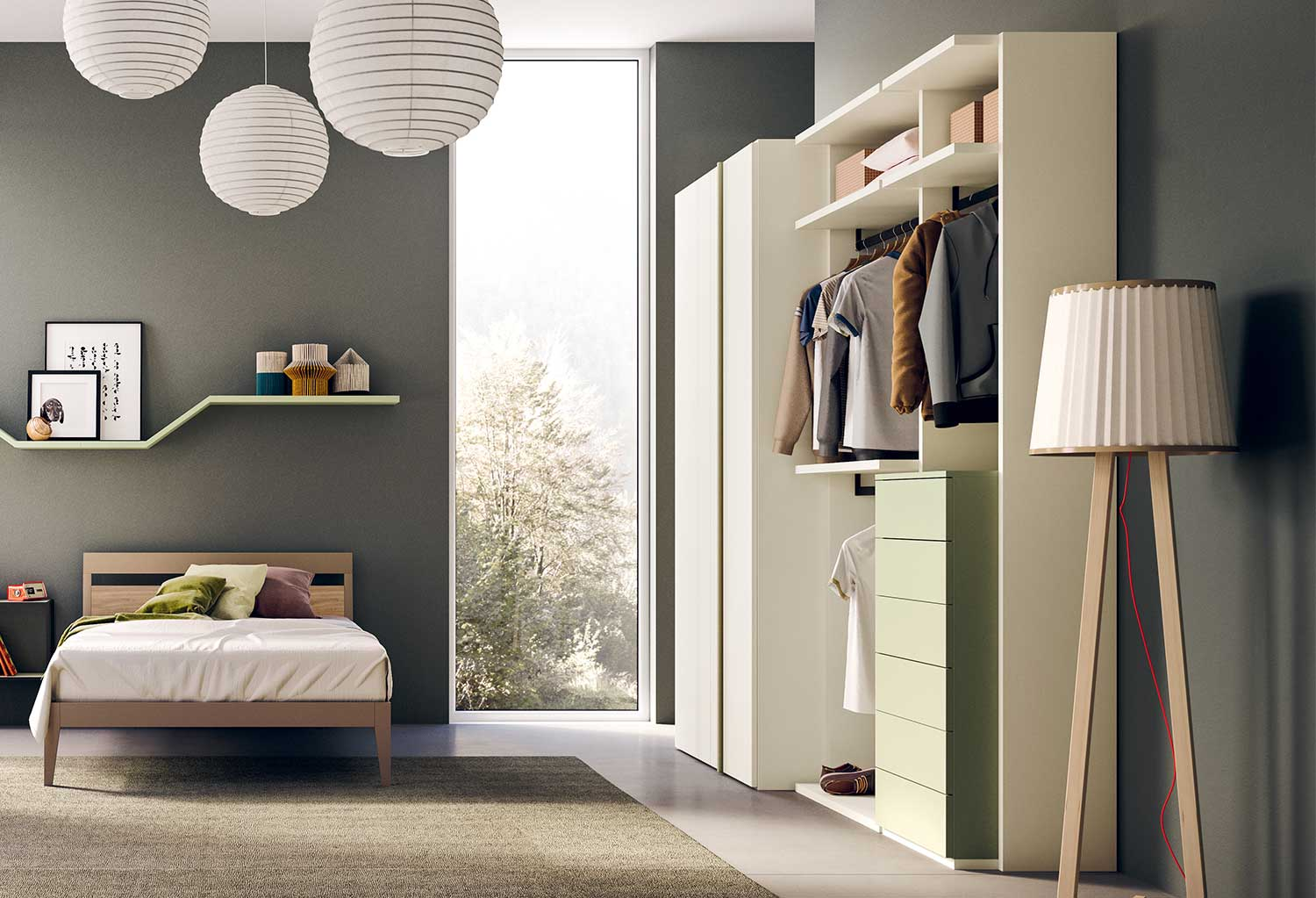 Flexy open wardrobe: this model includes two units of different widths, with clothes rails and drawers