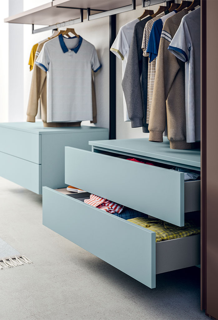Naked closet system drawers