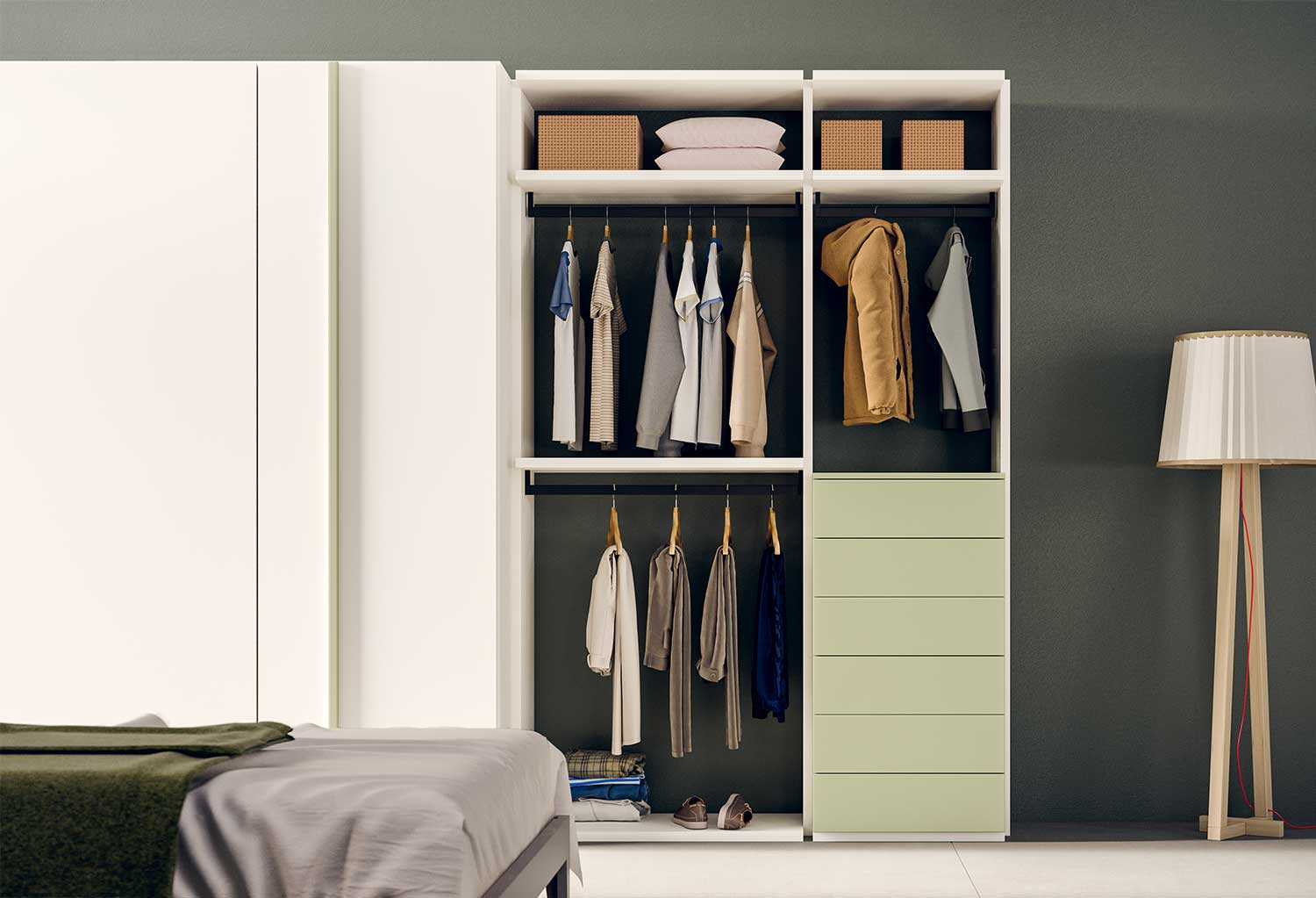 Flexy is a modular open wardrobe system for flexible, endless solutions