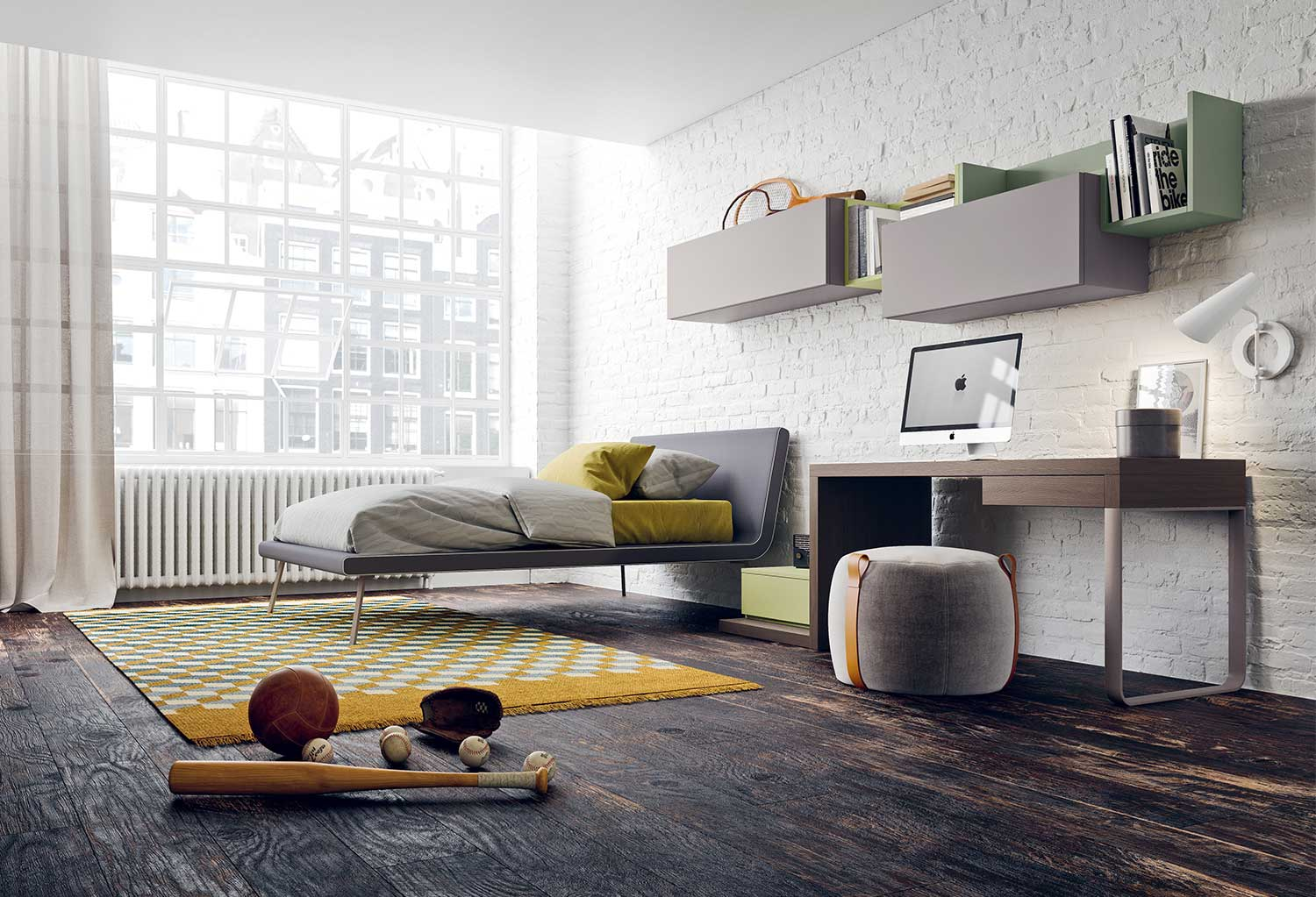 Modern teen boy bedroom furniture with bed, desk, wardrobe and bookshelf