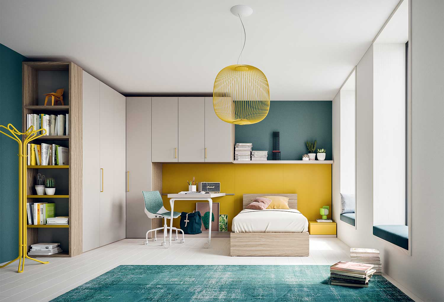 Start T11 corner kids bedroom furniture for girls or boys, including modular L-shaped wardrobe, single bed and desk with casters
