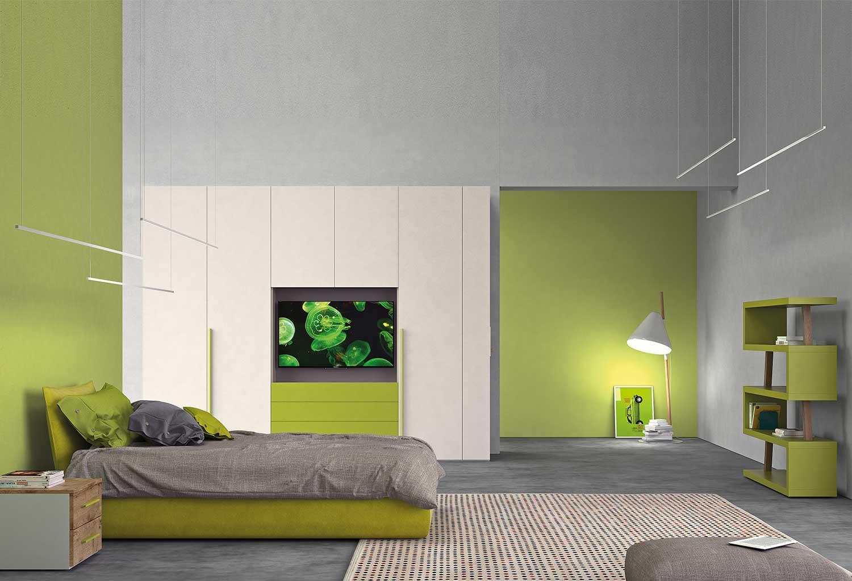 Cameretta con armadio porta tv, letto, libreria