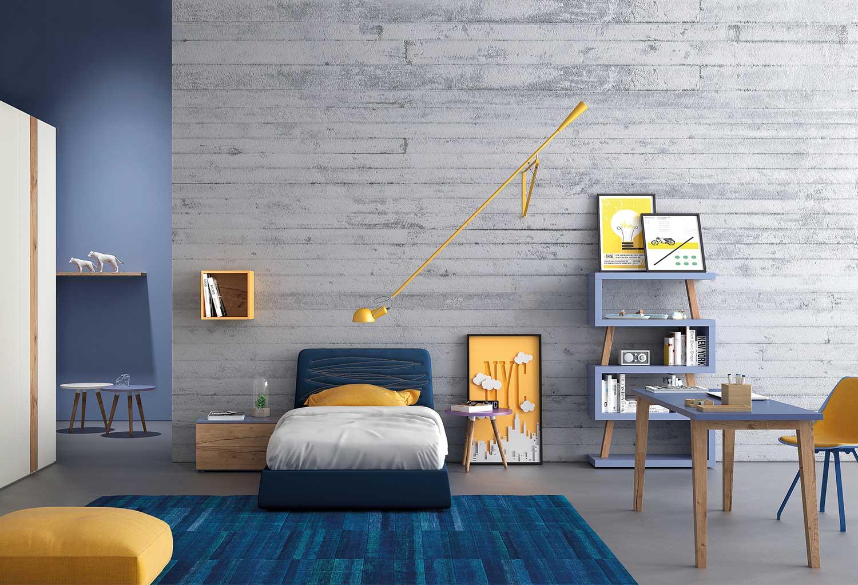 Cameretta bianca e azzurra moderna per bambino o ragazzo. Con letto, scrivania, armadio.