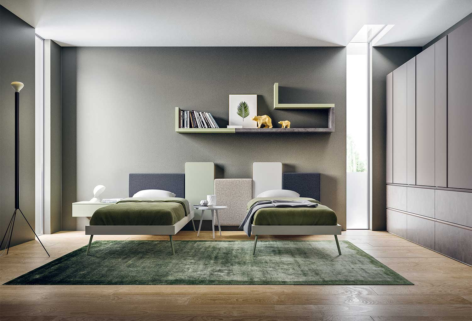 Perfect solution for a boy and girl shared room, Start T13 is a contemporary bedroom furniture set with two beds and a large wardrobe