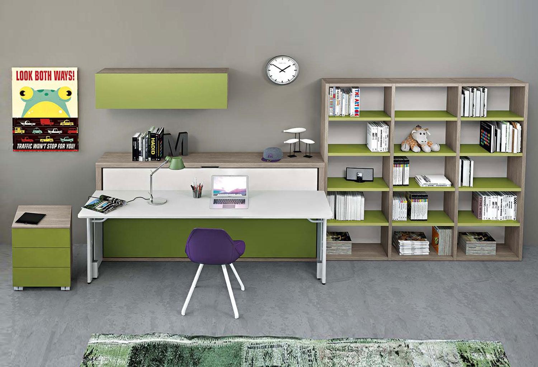 Cameretta con letto a scomparsa dynamic study 2 clever it - Letto a scomparsa con scrivania ...