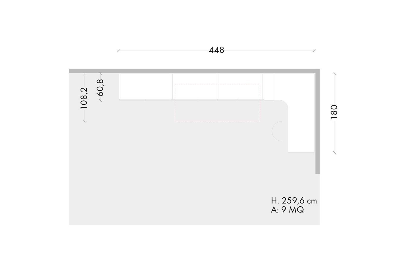 Piantina della cameretta da 9 mq