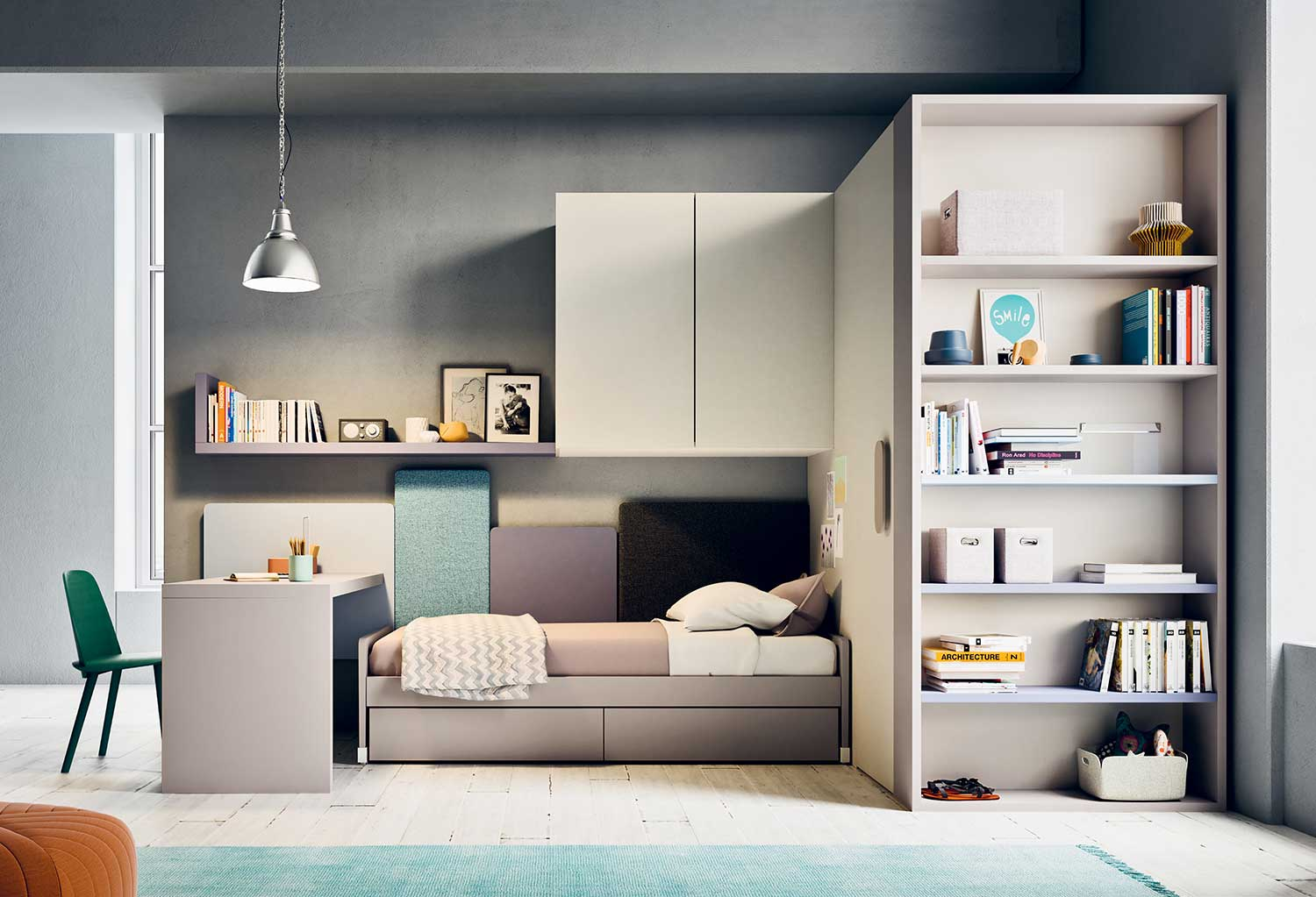 Bedroom set for girls or boys, complete with desk, bed, storage furniture and freestanding walk-in wardrobe