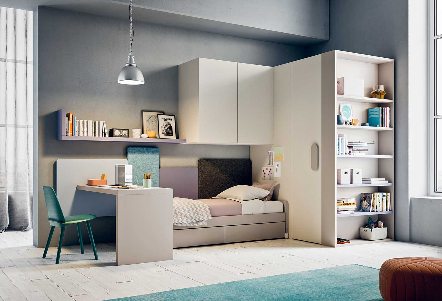 Start P25 is a complete set of girls' bedroom furniture with walk-in closet, bed with drawers, desk, shelving and overbed 2 door wardrobe cabinet