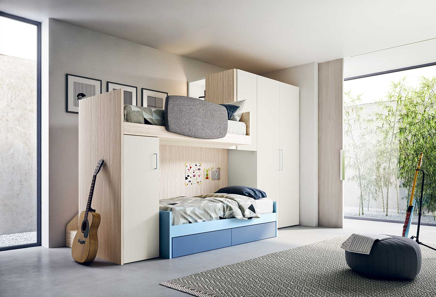Space saving bedroom furniture set Start S29