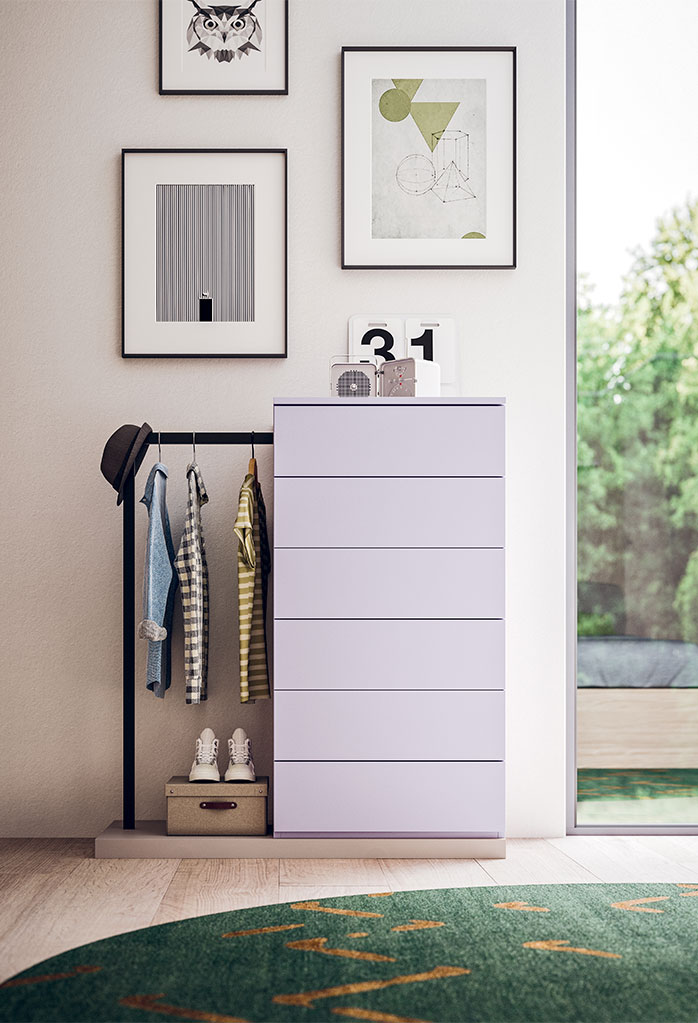 Tall chest of drawers with integrated clothes rack