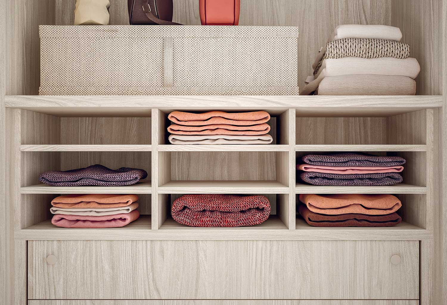 Shirts storage unit with compartments