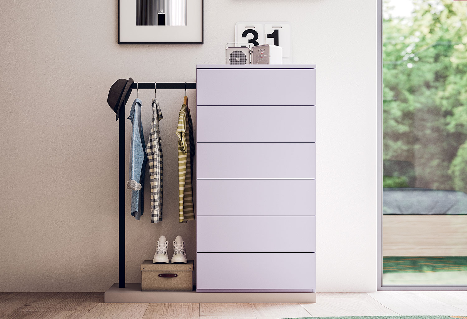 Ambrogio is a stylish tall chest of 6 drawers that incorporates a clothes rack