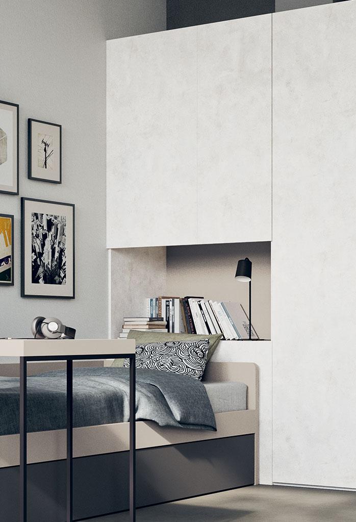 Duplo single wardrobe with 2 door upper cupboards