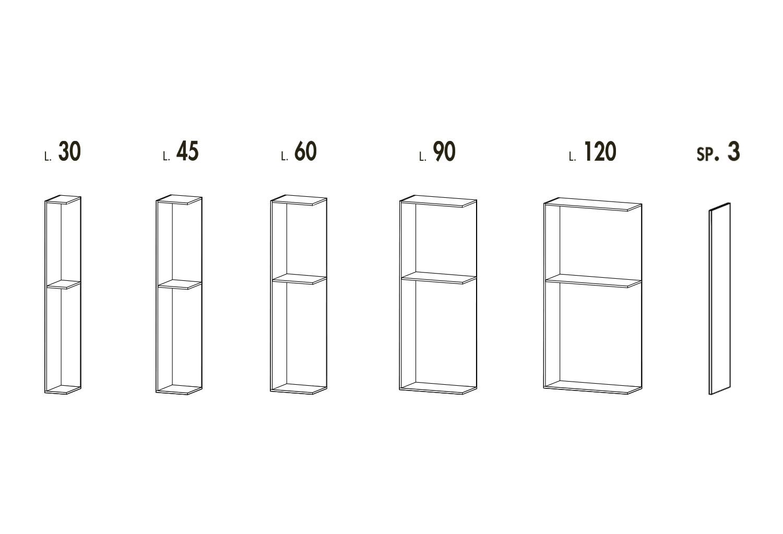 Schema colonne armadio senza ante componibili