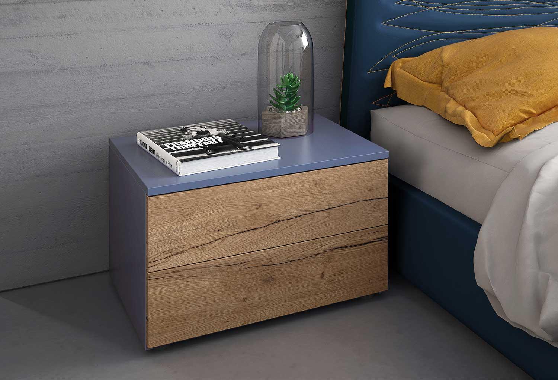Comodino Start bicolore in legno e laccato
