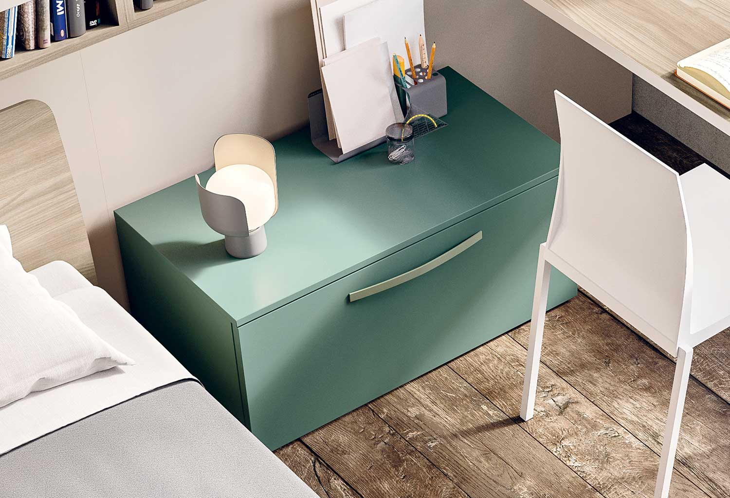 Bedside table Box with 1 large drawer and Arco handle