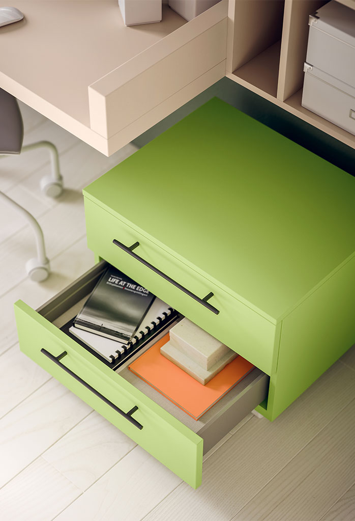 Start can be used as a bedside table or drawer unit for desks
