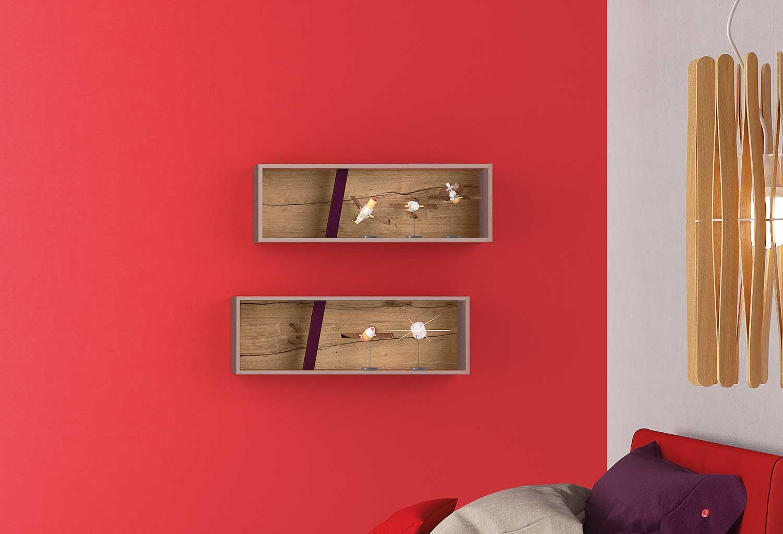 Contenitori a parete per cameretta con 1 divisorio in legno