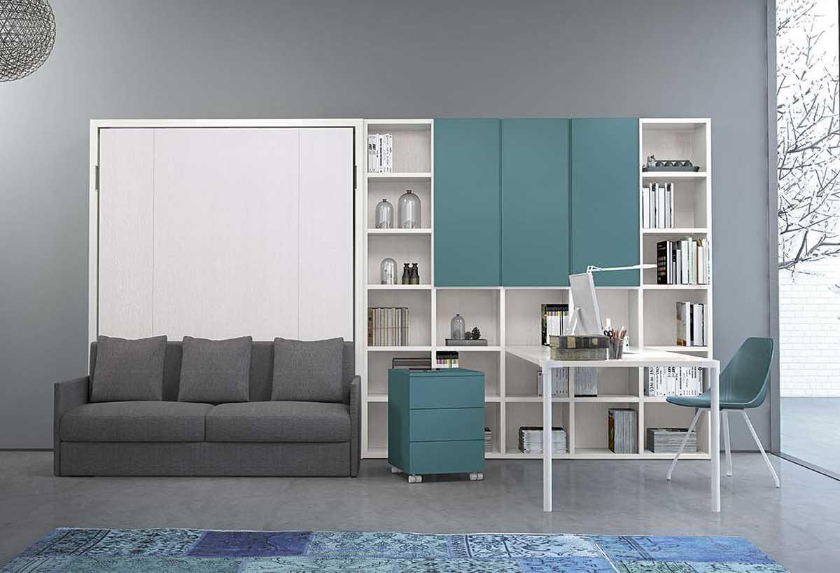 Arredamento completo per home office: scrivania, libreria, letto a scomparsa, divano