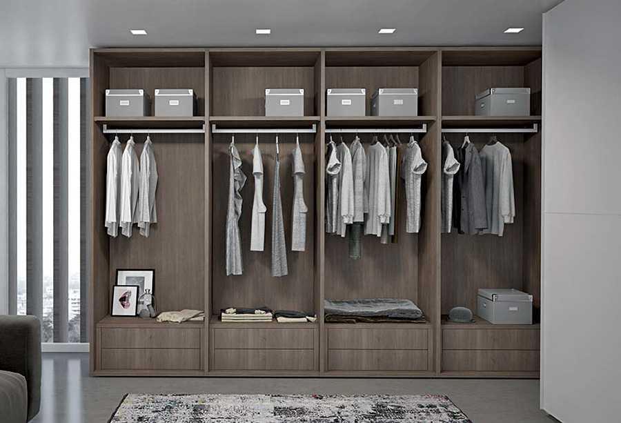 Cabina armadio Start-Lineare. Componibile, realizzabile su misura, personalizzabile per modelli, dimensioni, finiture e colori.