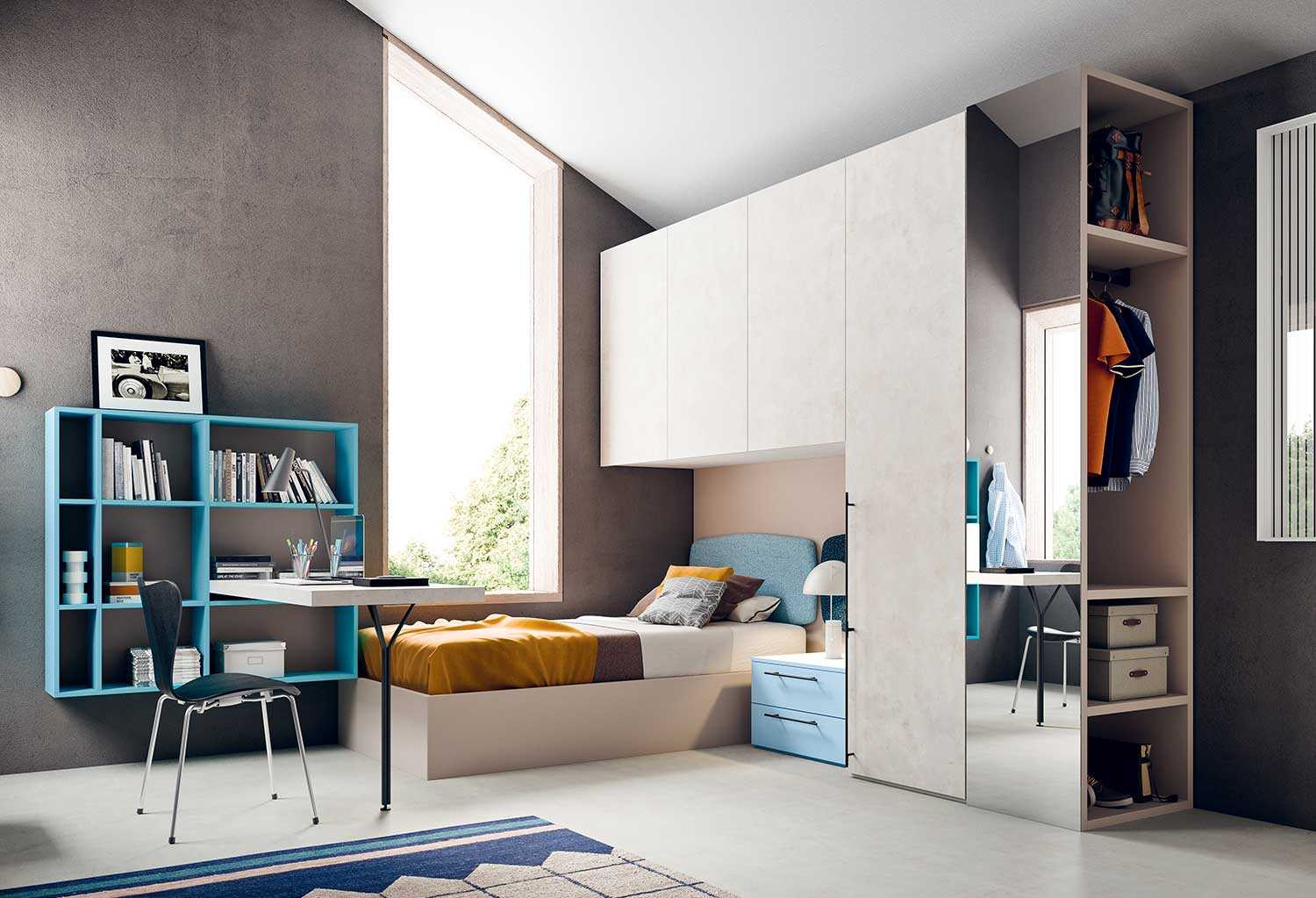 Letto Singolo Con Comodino.Boys Bedroom Set With Desk And Bookshelf Start P17 Clever