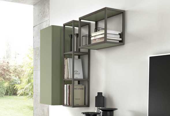 Mensola scaffale libreria in metallo con ripiani in varie finiture