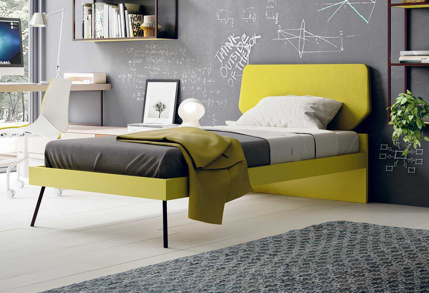 Letto Ecopelle Giallo : Slitta design single bed clever