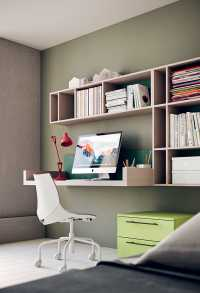 Study nook with floating desk and shelving