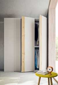 The 2 door wardrobe features a coat rack unit end