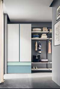 Two door wardrobe with external drawers and closet system