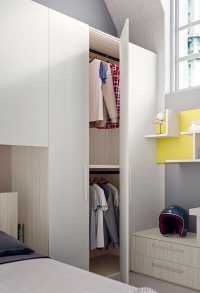 Corner wardrobe features a large space saving end unit