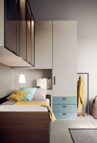 One door wardrobe with drawers and bedside unit with hidden cupboard