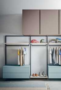 Naked closet system with shelves, clothes rails and floating drawers