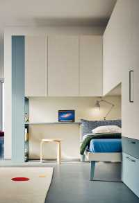 Overbed and bridging units with integrated desk and bookcase