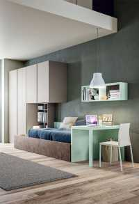 Kids' bedroom with cabin bed, wardrobe, desk Start P19